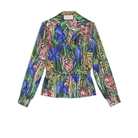 Gucci Hemd aus Seide mit Feline Garden-Print braun