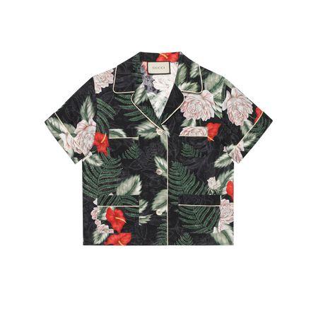 Gucci Hemd aus Seide mit hawaiianischem Print grau