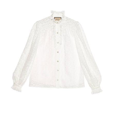 Gucci Hemd mit Blumen-Spitze aus Baumwolle