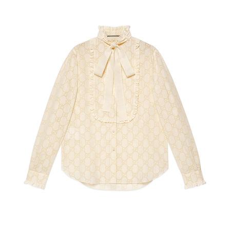 Gucci Hemd mit GGLochstickerei beige