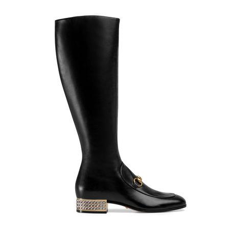 Gucci Hoher HorsebitStiefel aus Leder mit Kristallen schwarz