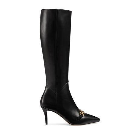 Gucci Hoher  Zumi Stiefel aus Leder schwarz