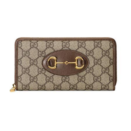 Gucci  Horsebit 1955 Brieftasche mit Reißverschluss braun