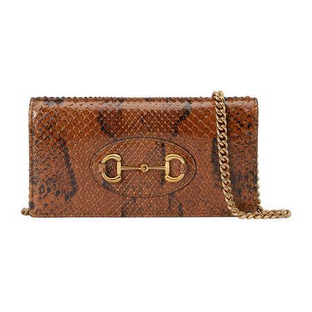 Gucci Horsebit1955Ketten-Brieftasche aus Pythonleder