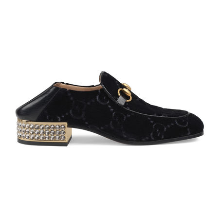 Gucci Horsebit Halbschuh aus GGSamt mit Kristallen schwarz
