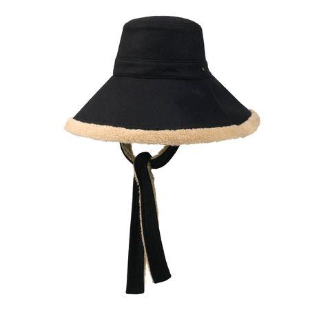 Gucci Hut aus Wolle mit Webpelz und breiter Krempe schwarz
