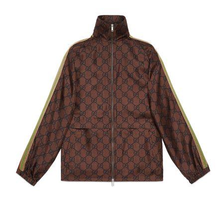 Gucci Jacke aus Seide mit Reißverschluss und GGPrint braun