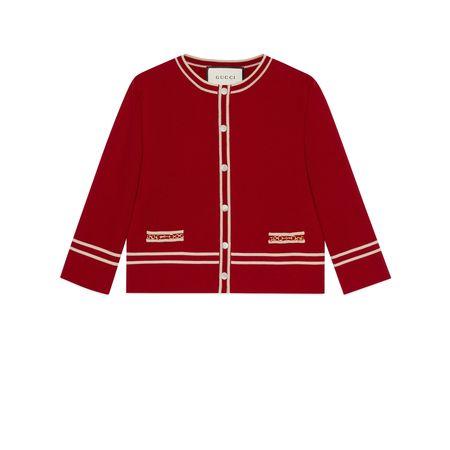 Gucci Jacke aus Wolle mit GGJacquard rot