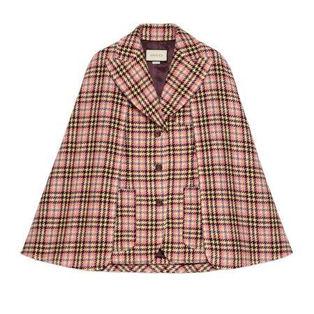 Gucci Jacke aus Wolle mit Hahnentrittmuster und Cape braun