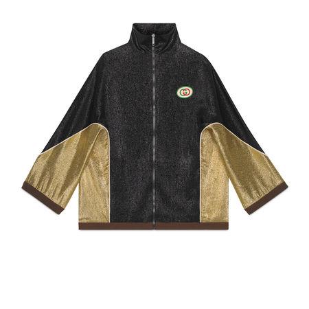 Gucci Kimonojacke aus Lamé-Crêpe schwarz