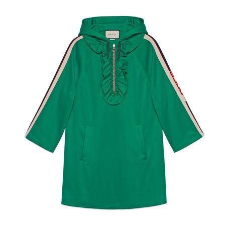 Gucci Kleid aus Jersey mit Kapuze tuerkis