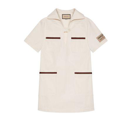 Gucci Kleid aus leichter Baumwolle mit Web