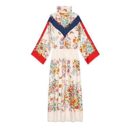 Gucci Kleid aus Seide mit Blumen-Print braun