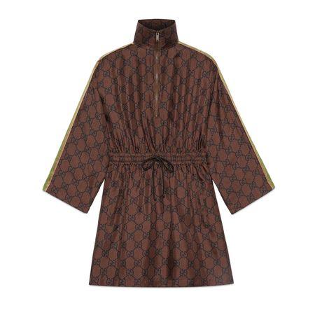 Gucci Kleid aus Seide mit GGSupreme-Print braun