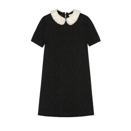 Gucci Kleid aus Wolle mit gesticktem Kragen