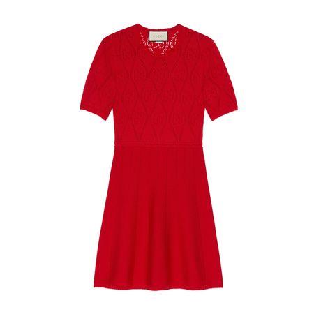 Gucci Kleid aus Wolle mit GGLochstickerei rot