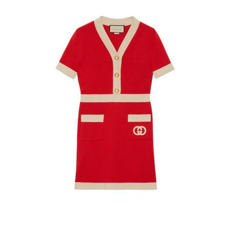 Gucci Kleid aus Wolle mitGG rot