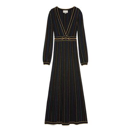Gucci Kleid aus Wolle mit Lamé-Streifen schwarz