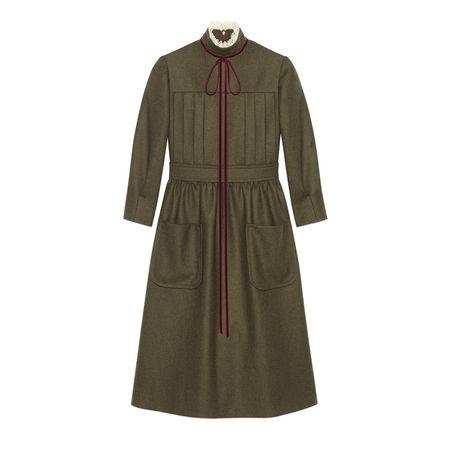 Gucci Kleid aus Wollflanell mit Schleife braun