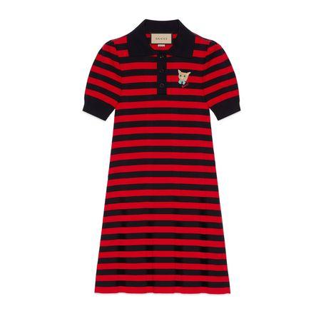Gucci Kleid im Polostil aus gestreiftem Baumwollstrick