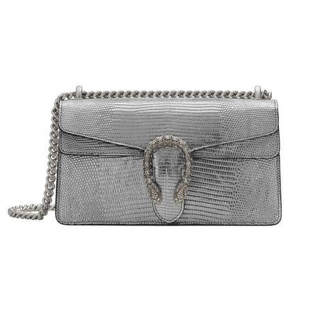 Gucci Kleine Dionysus Tasche aus Metallic-Leder grau