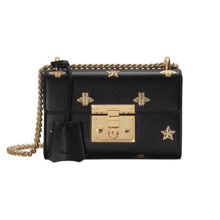 Gucci Kleine Padlock Tasche mit Bienen und Sternen schwarz