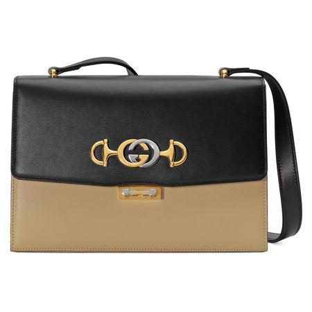 Gucci Kleine  Zumi Schultertasche aus Leder braun