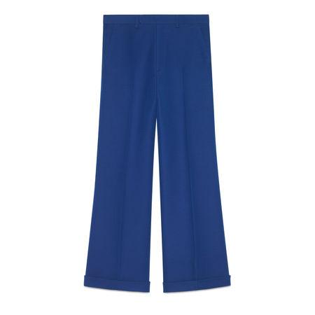Gucci Knöchellange Hose aus Wolle und Seide blau