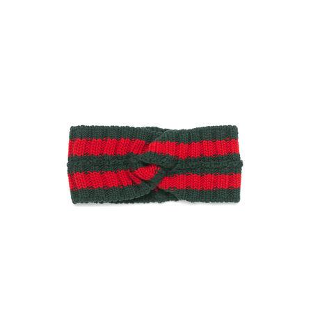 Gucci Kopfband aus Wolle mit Webstreifen grau
