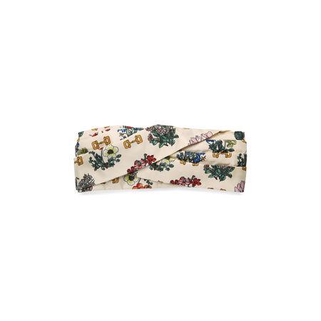 Gucci Kopfband mit Blumen- und Steigbügel-Print braun