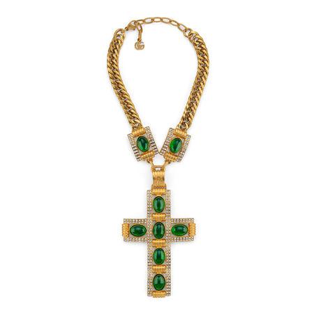 Gucci Kreuz-Halskette mit Cabochonsteinen