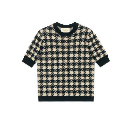 Gucci Kurzärmliger Pullover mit Hahnentrittmuster schwarz