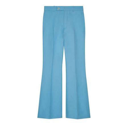 Gucci Kurze Schlaghose aus Wolle und Seide blau