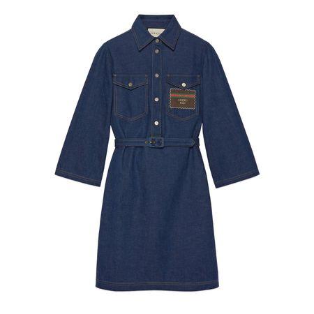 Gucci Kurzes Kleid aus Denim mit Boutique grau