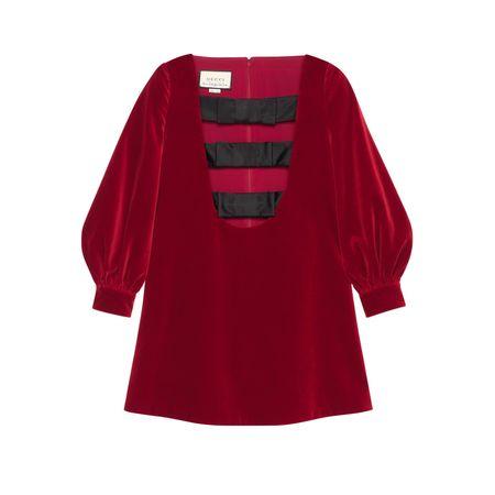 Gucci Kurzes Kleid aus Samt mit Schleifen