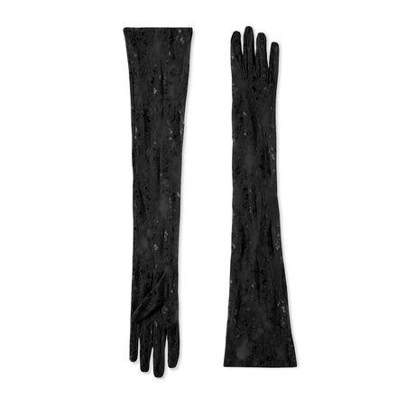 Gucci Lange Handschuhe aus besticktem Tüll schwarz