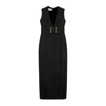 Gucci Langes Kleid aus Wolle und Seide mit V-Ausschnitt schwarz