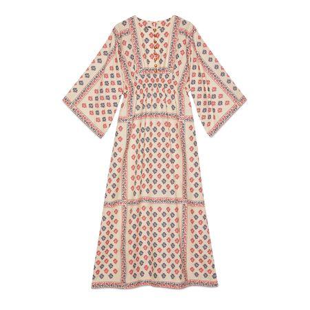 Gucci Langes Kleid im Kaftanstil aus Fil Coupé mit GGBlume braun