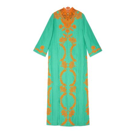 Gucci Langes Leinenkleid im Kaftanstil mit Spitze gruen