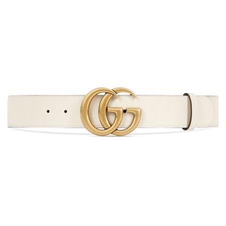 Gucci Ledergürtel mit Doppel G Schnalle beige