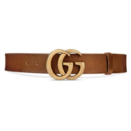 Gucci Ledergürtel mit GG Schnalle braun