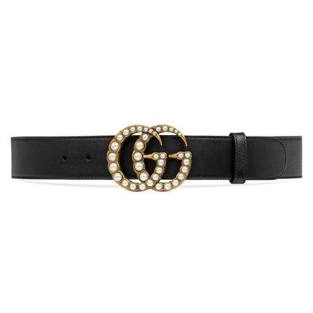 Gucci Ledergürtel mit perlenbesetzter GG-Schnalle schwarz