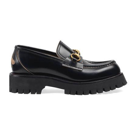 Gucci Loafer aus Leder mit Horsebit und Profilsohle schwarz