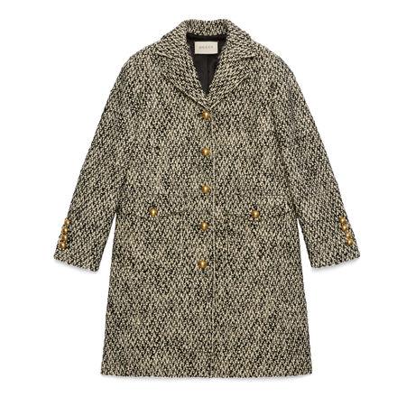 Gucci Mantel aus Tweed mit DoppelG braun