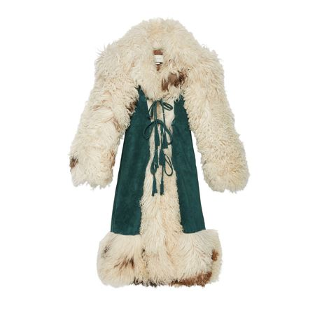Gucci Mantel aus Wildleder mit Lammfellbesatz braun