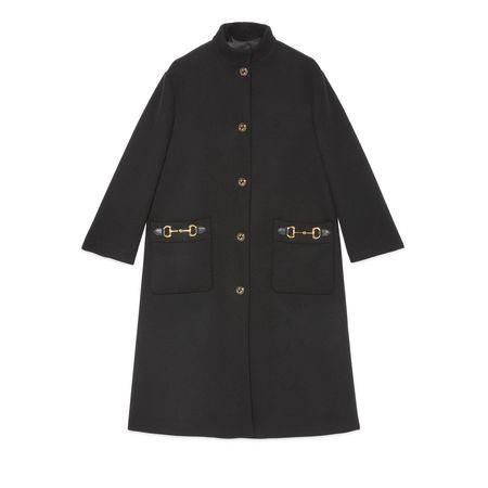 Gucci Mantel aus Wolle mit Lederdetail grau