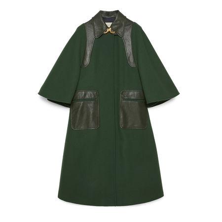 Gucci Mantel aus Wolle mit Lederdetails grau