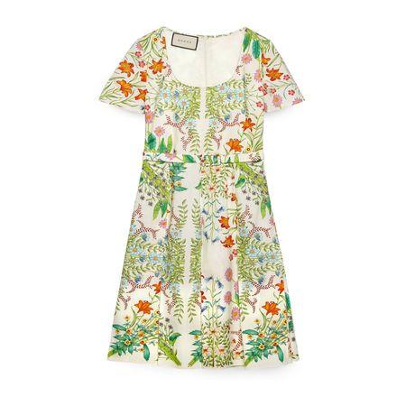 Gucci Midi-Kleid aus Baumwolle mit NewFlora-Print gruen