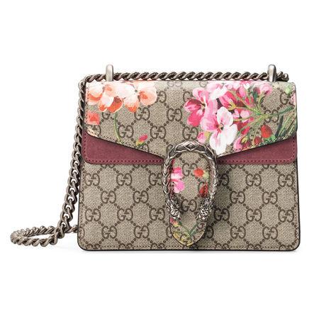Gucci Mini-Schultertasche Dionysus mit Blooms Print braun