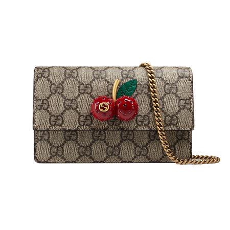 Gucci Mini-Tasche aus GG Supreme mit Kirschen braun